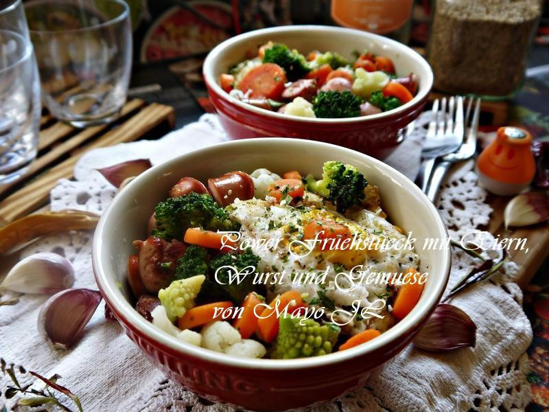 活力早餐:蛋、香腸、綜合蔬果
