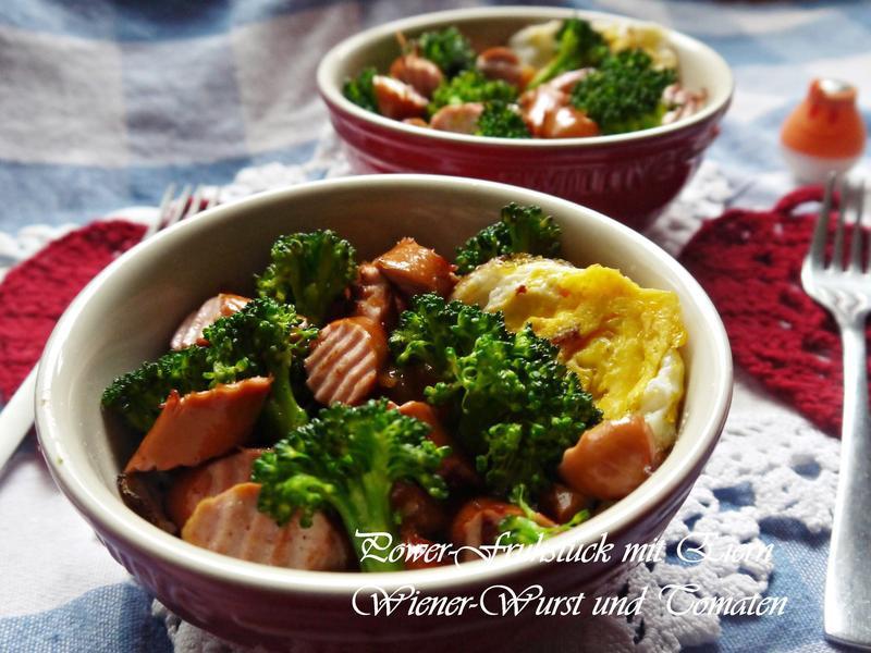 活力早餐:蛋、香腸、花椰菜、蕃茄