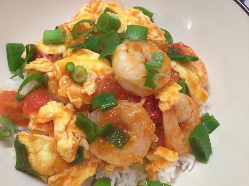 番茄虾仁炒蛋