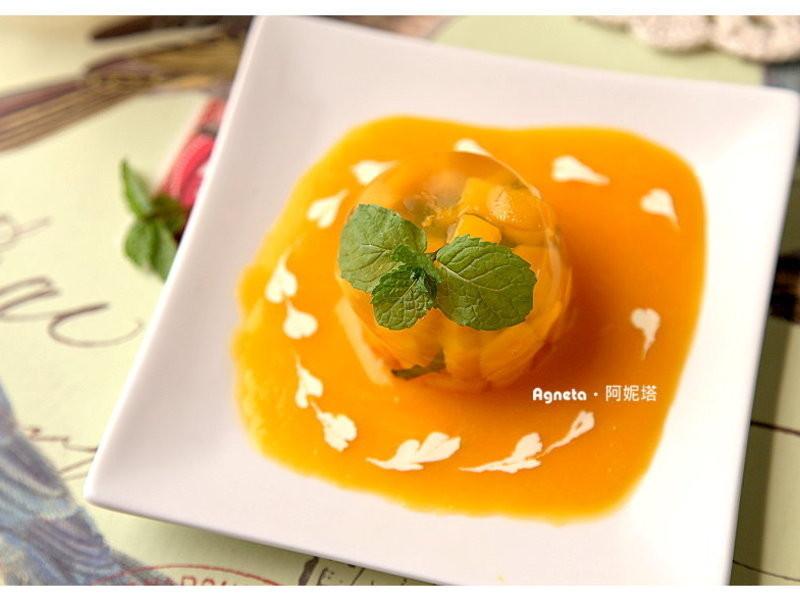 [阿妮塔♥Sweet] 芒果清酒凍。Sake Jelly w/Fresh Mango。