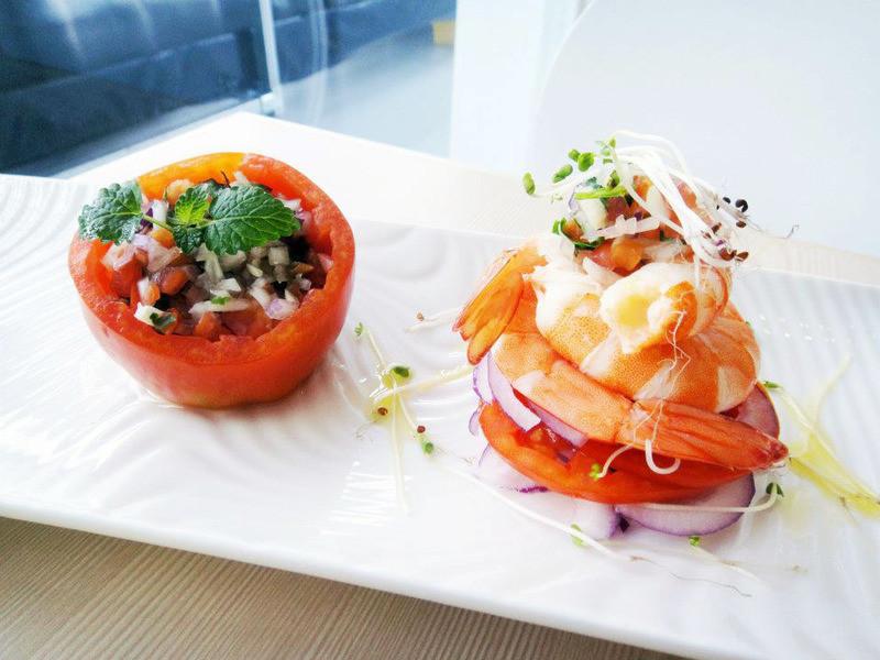 羅勒白蝦佐番茄鮮蔬盅
