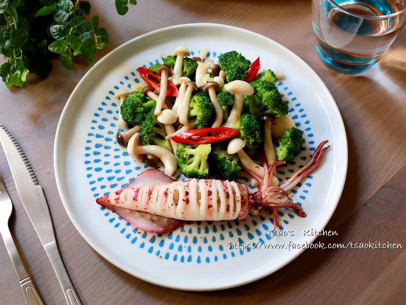 烤透抽佐鮮菇青花菜【低醣飲食】