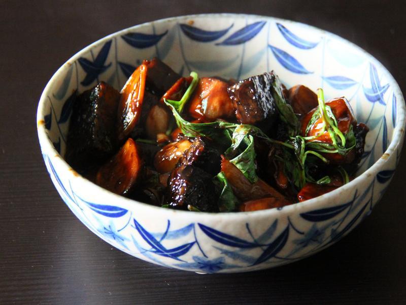 三杯米血杏鮑菇