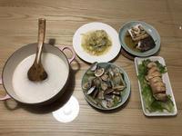 海陸蒸雞捲+蛤蜊絲瓜+蒸鱸魚片+炒高麗菜