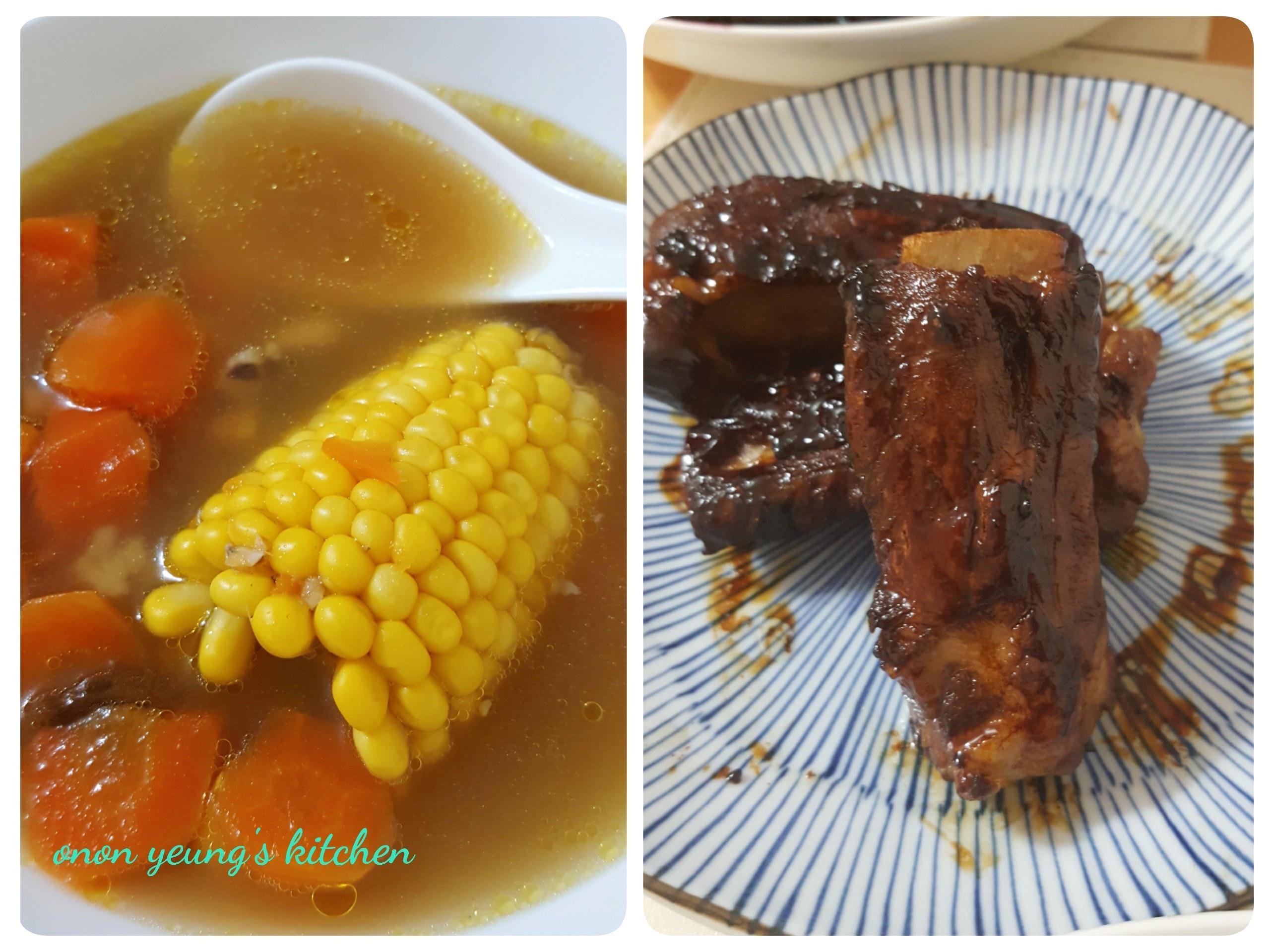 紅蘿蔔玉米排骨湯 併醬燒排骨。家常湯水
