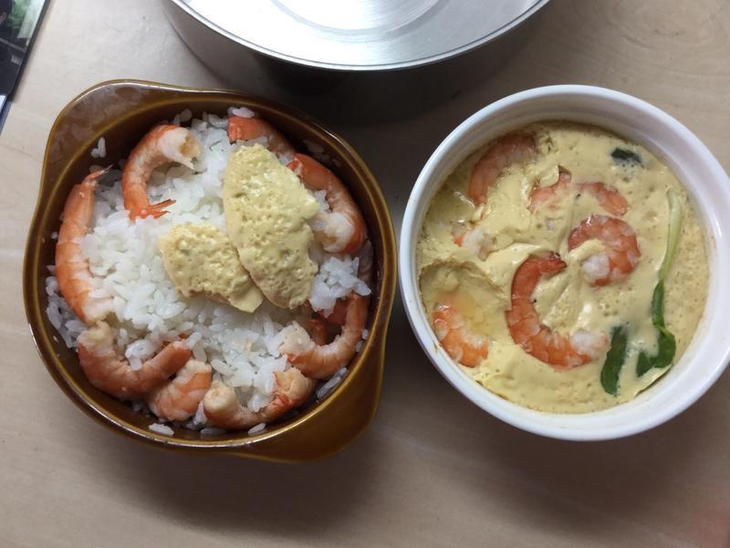 蝦蝦青江菜蒸蛋