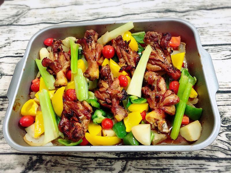 蔬菜烤雞腿(水波爐料理)