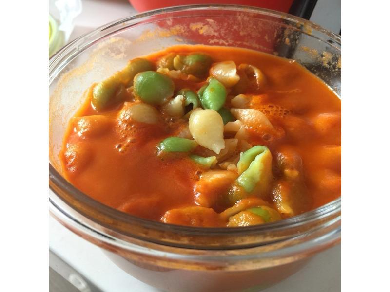 炆久之芯-微波爐煮義式高粱茄汁三色貝殼麵