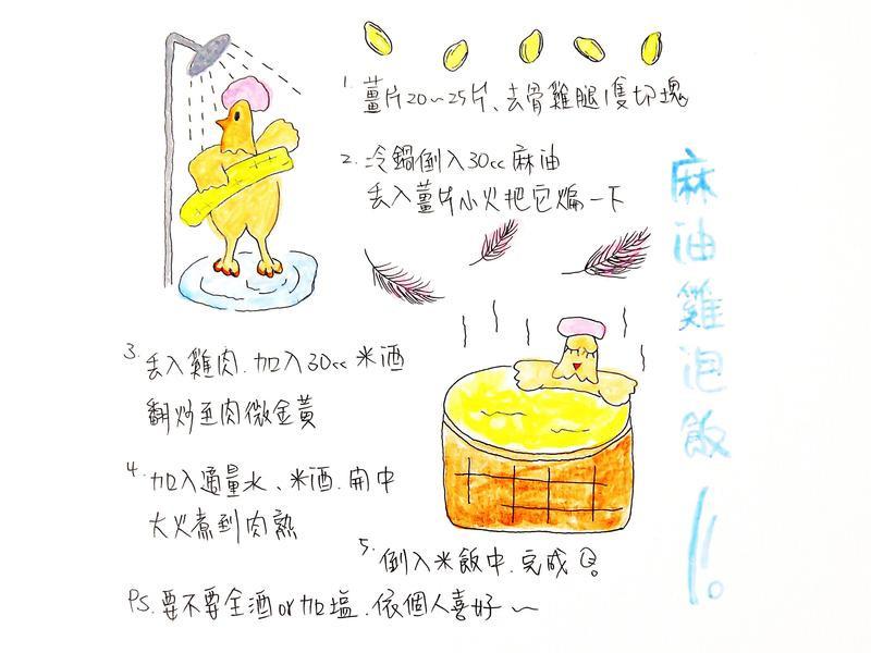 麻油雞泡飯-手繪食譜