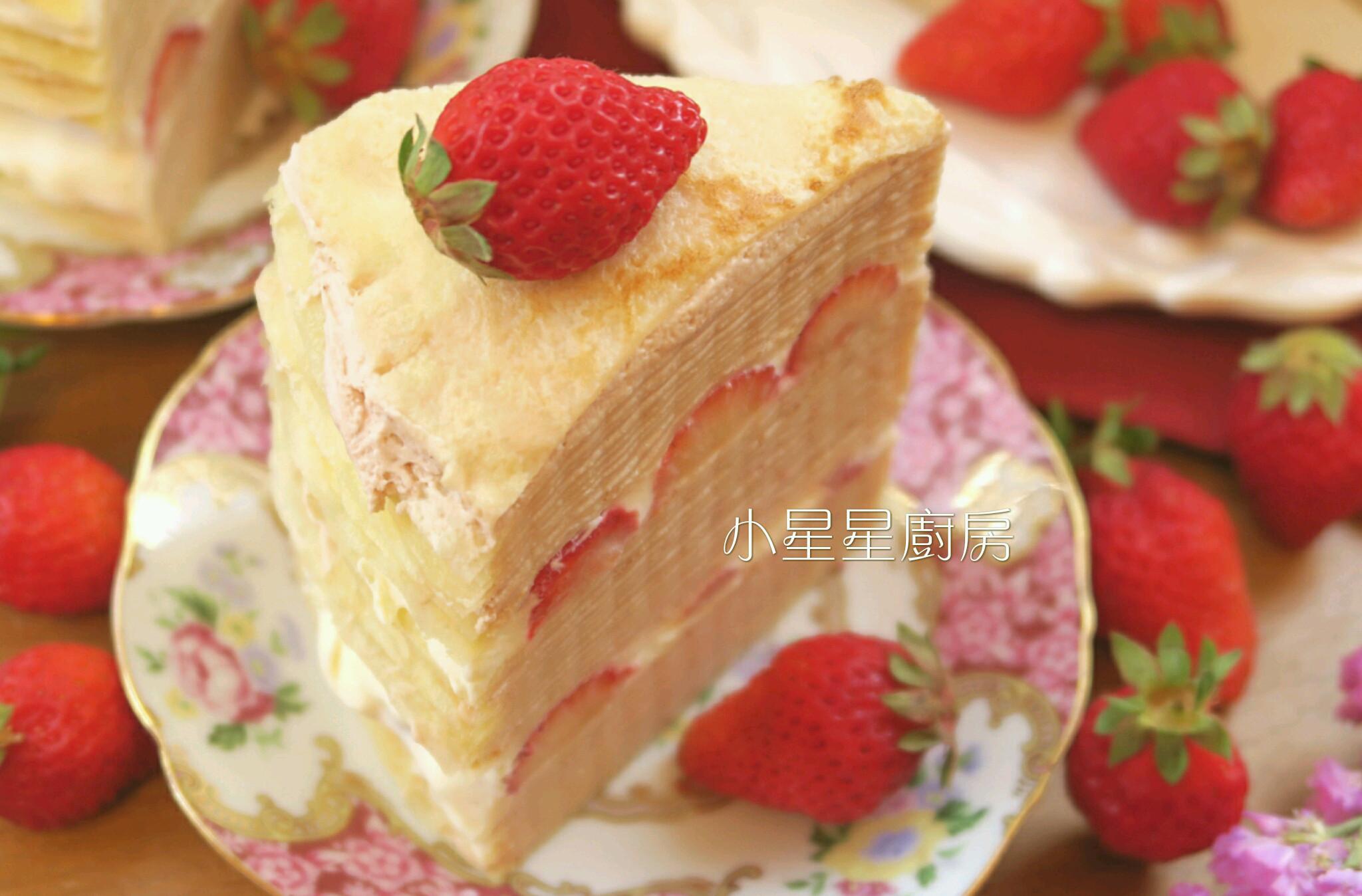 夢幻少女心!雙重草莓千層蛋糕(免烤箱)