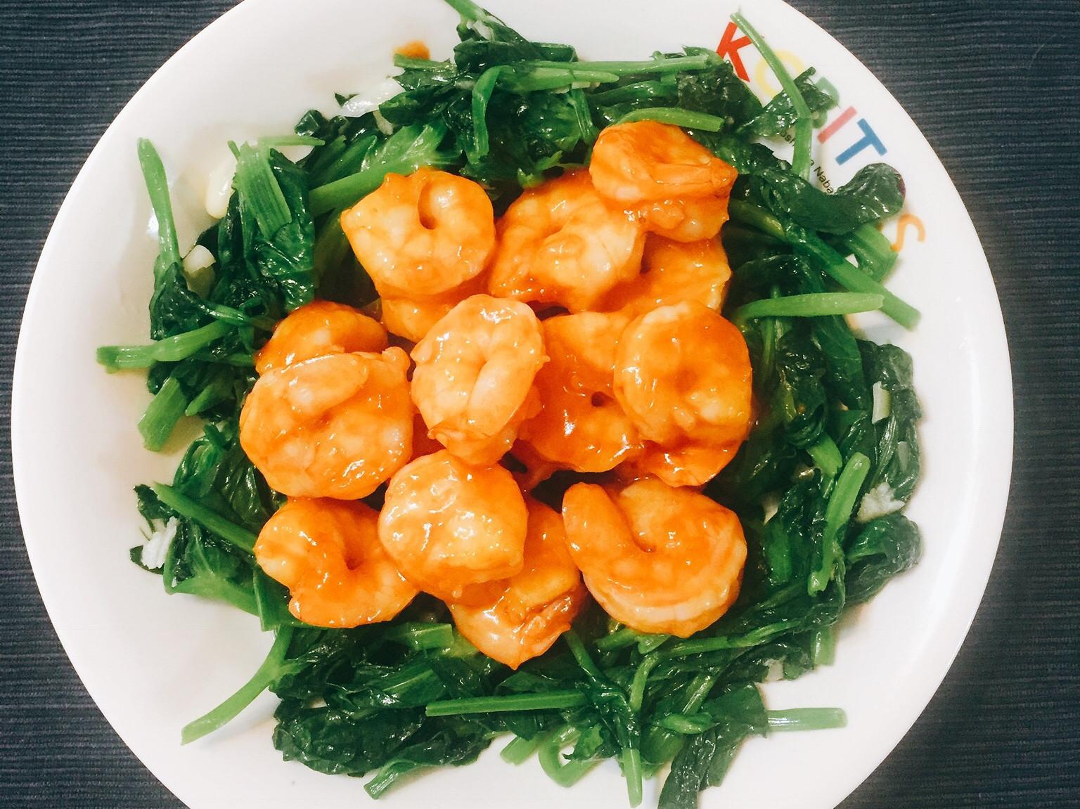 茄汁蝦仁。家常菜