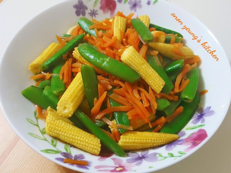 甜豆炒紅蘿蔔玉米荀