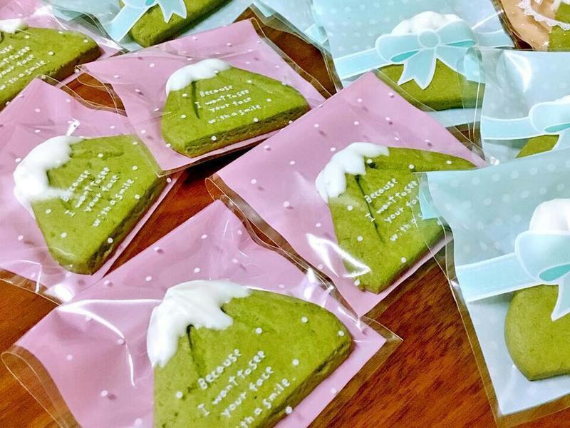 富士山造型的抹茶餅乾