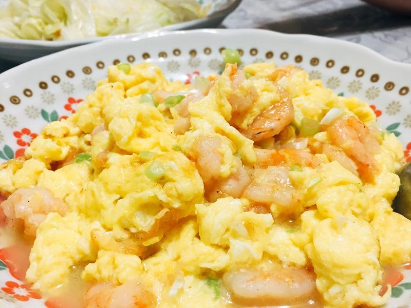 鮮蔥蝦仁炒嫩蛋【家常菜】