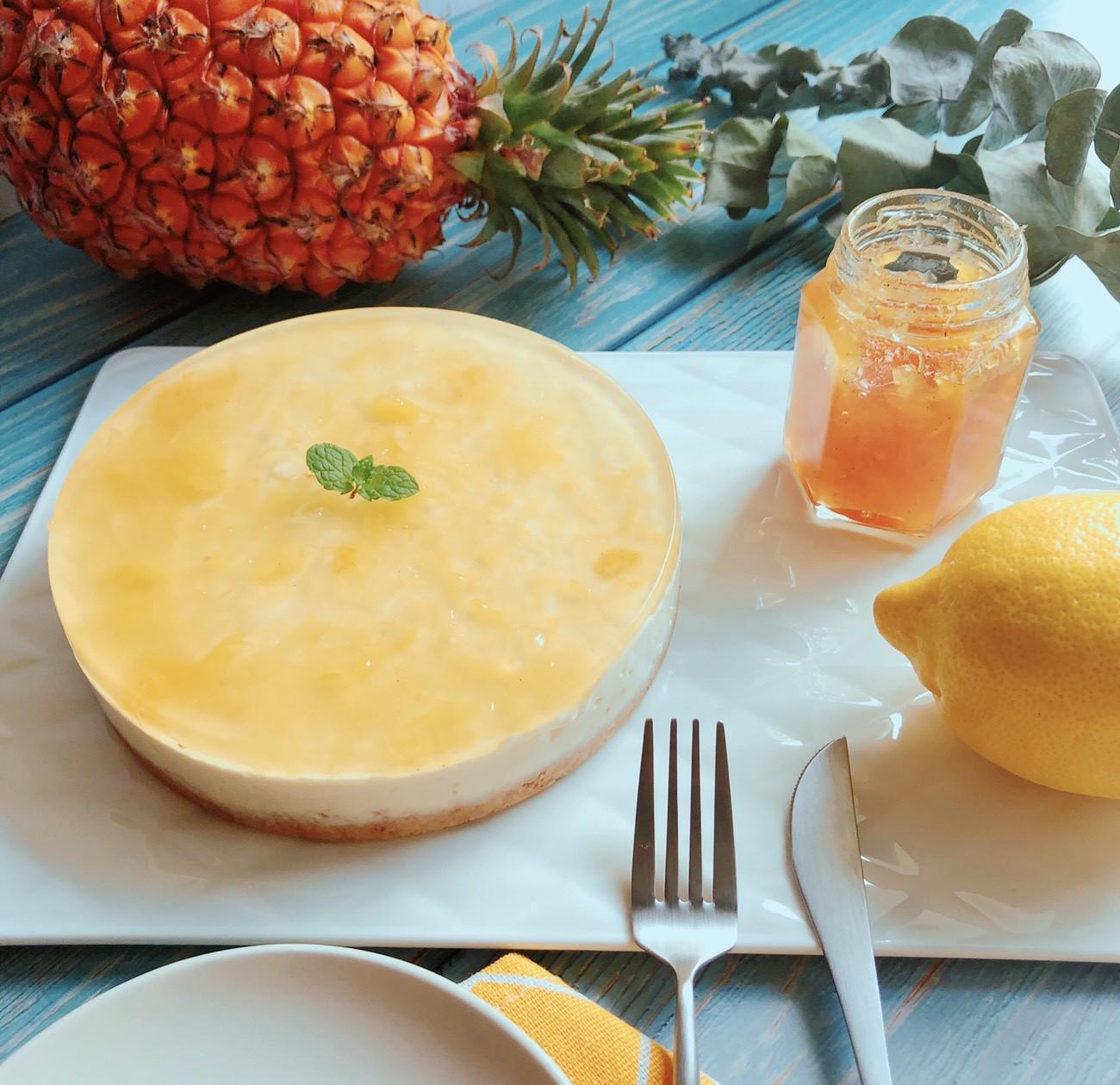 免烤箱鳳梨起士蛋糕(6吋)-手繪食譜