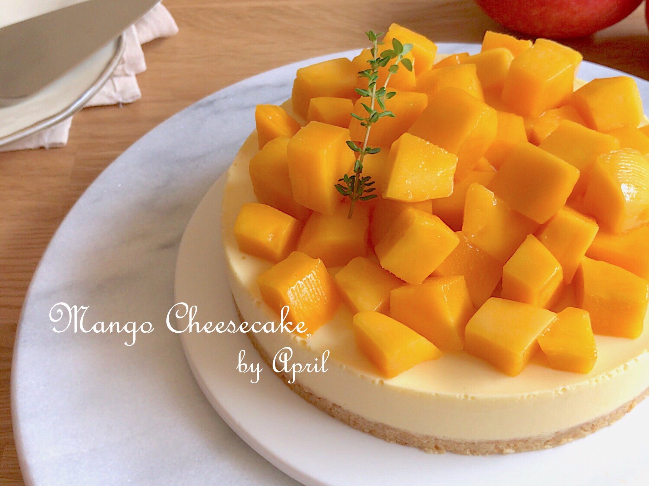 芒果生乳酪蛋糕【影片】無鮮奶油免烤箱