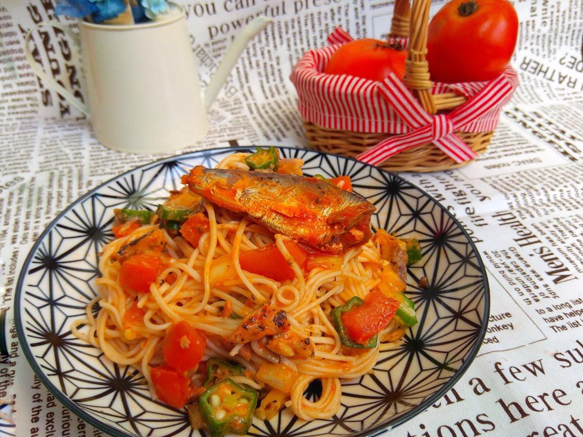 番茄秋葵沙丁魚冷麵