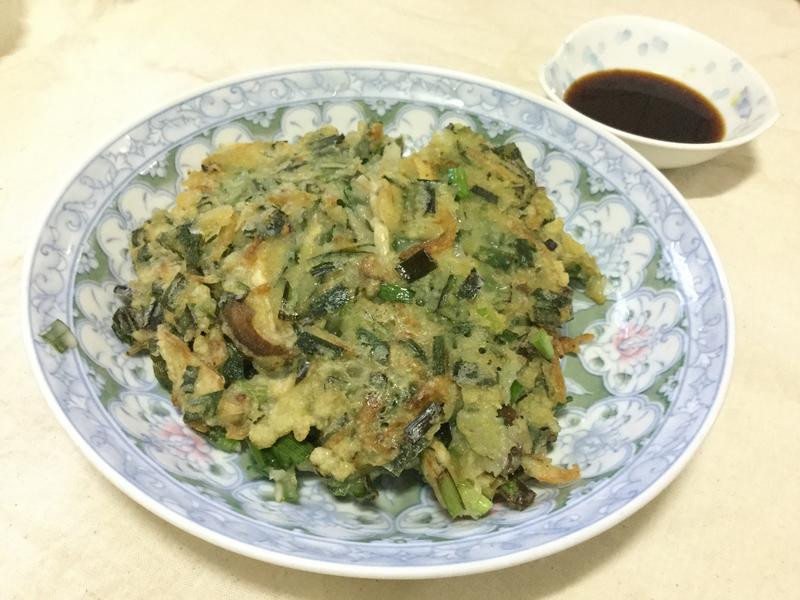 韭菜蝦皮煎餅~含沾醬做法
