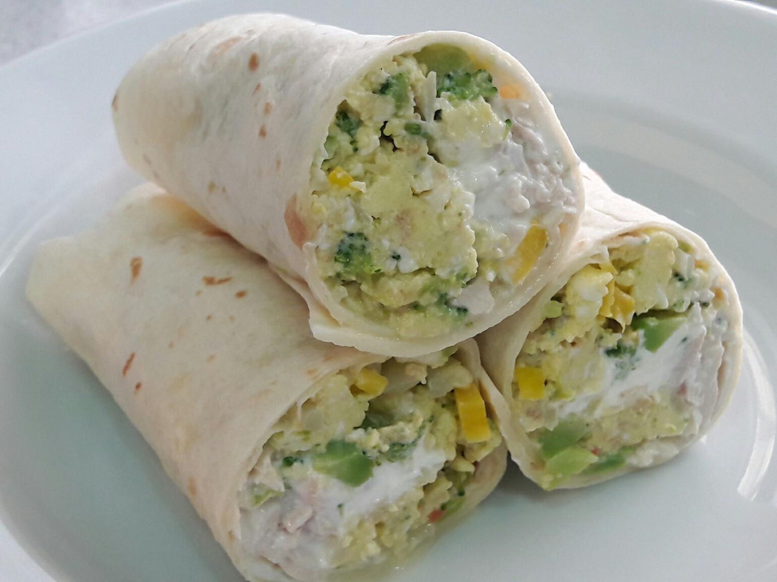雞絲蔬菜炒蛋墨西哥捲餅~夏日輕食早餐