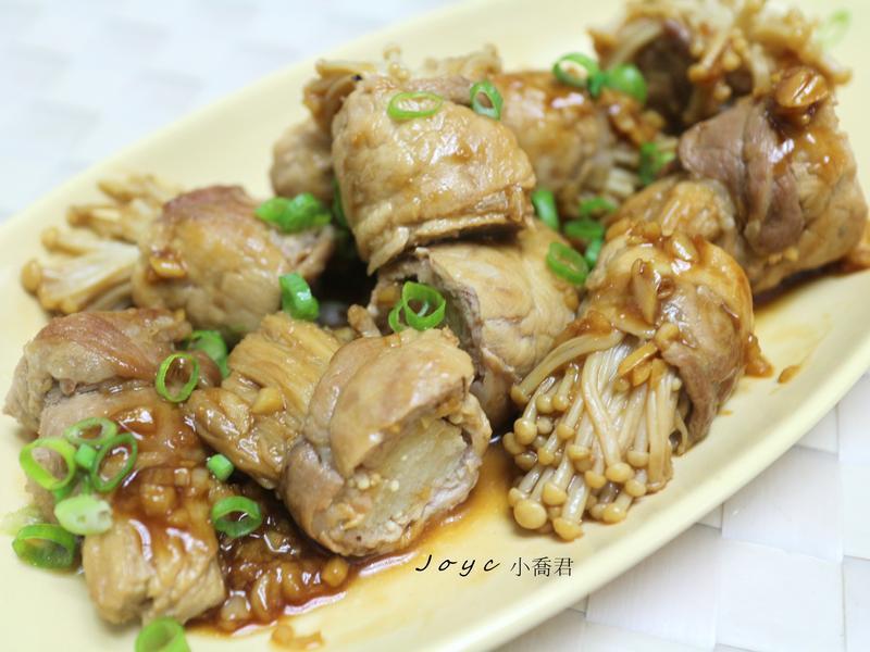 蒜味醬燒金針菇肉捲