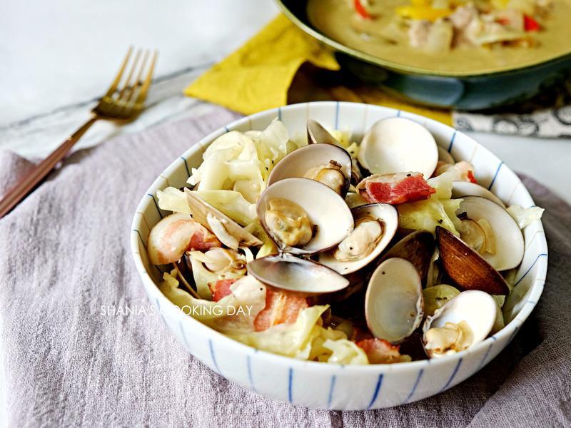 蒜香培根鮮蛤高麗菜