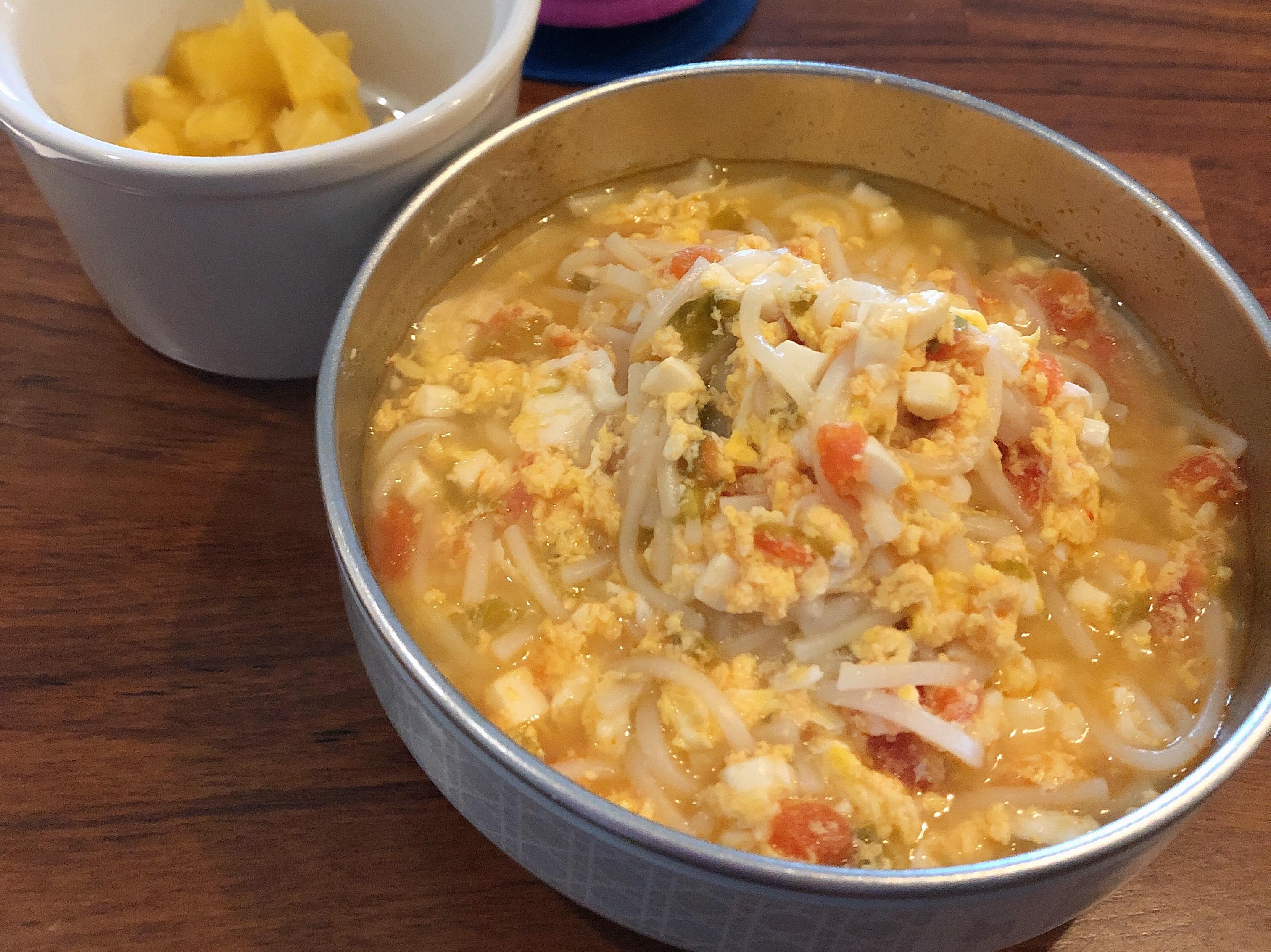 寶寶副食品-蕃茄豆腐蛋花麵