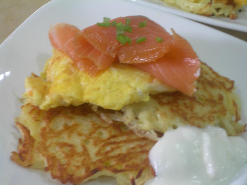 煎馬鈴薯餅佐薰鮭魚起司蛋