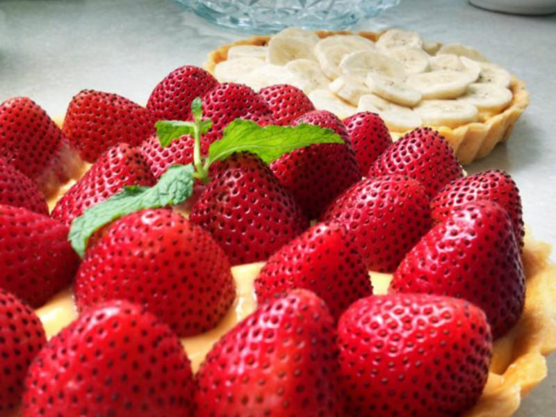 草莓卡士達塔(八吋活動菊花派模)