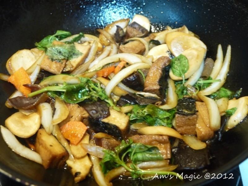 AM魔力~三杯杏鮑菇(素食料理)