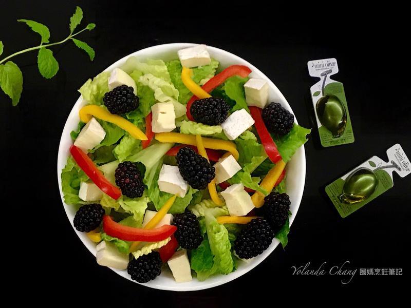 開胃黑莓蘿蔓奶酪蔬果沙拉(蔬食奶素可)