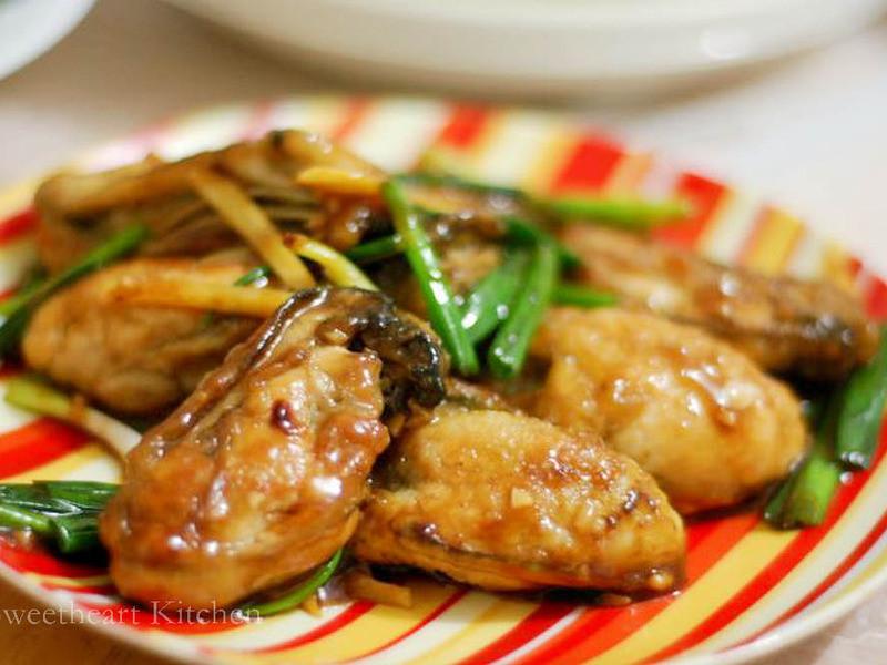 薑葱煎蠔 PAN FRIED OYSTERS WITH GINGER AND SHALLOT