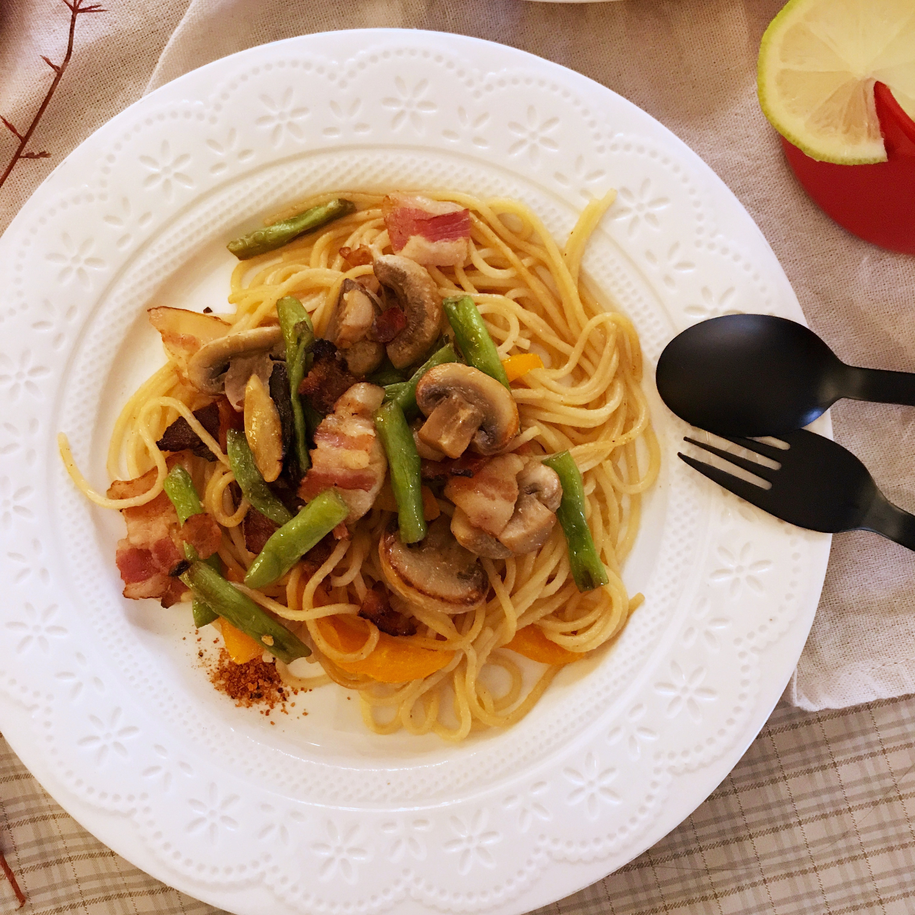 [和風] 培根野菜義大利麵(露營OK)