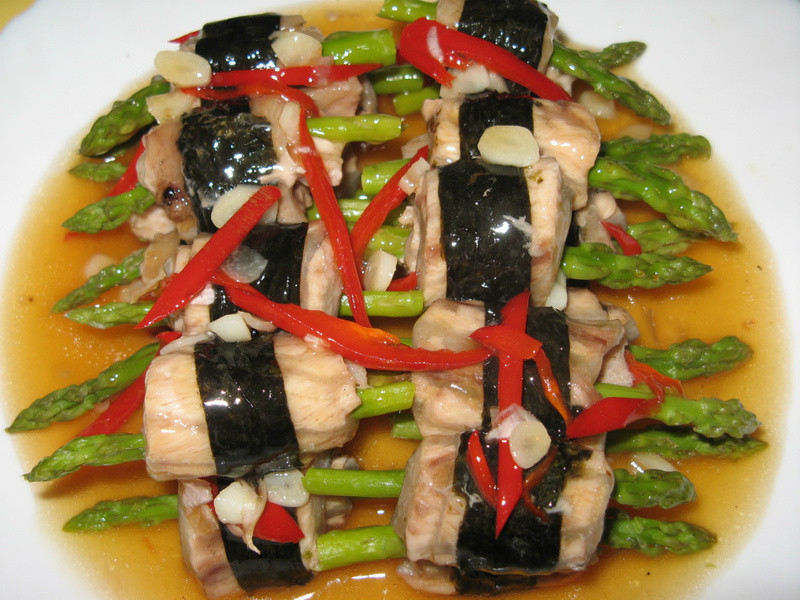 蘆筍魚片卷