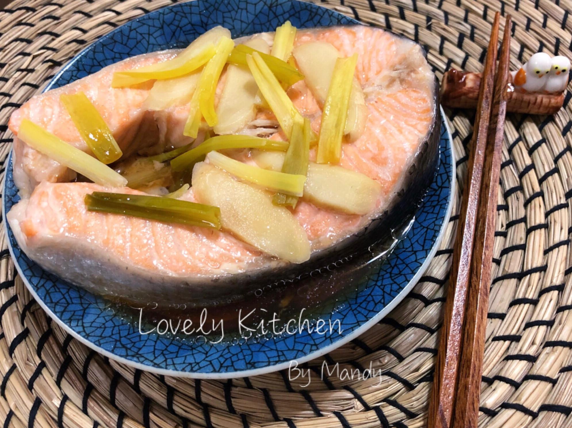 蔥薑蒸鮭魚【低油】
