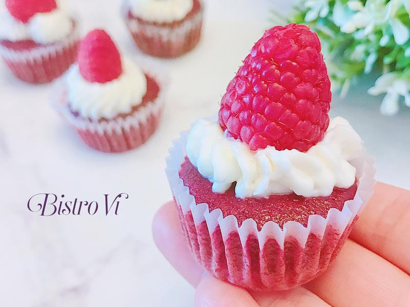 不用色素~覆盆莓乳酪甜菜根杯子蛋糕