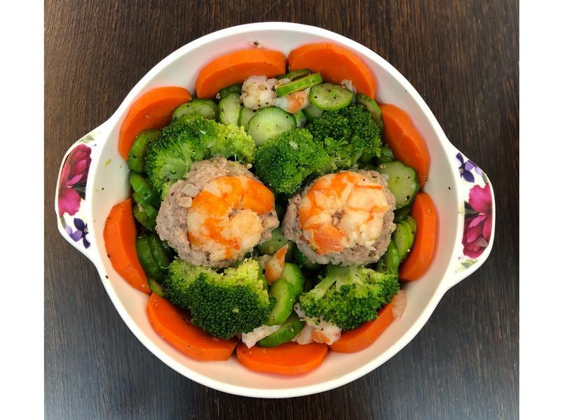 高蛋白-劍蝦蒸肉蔬菜餐