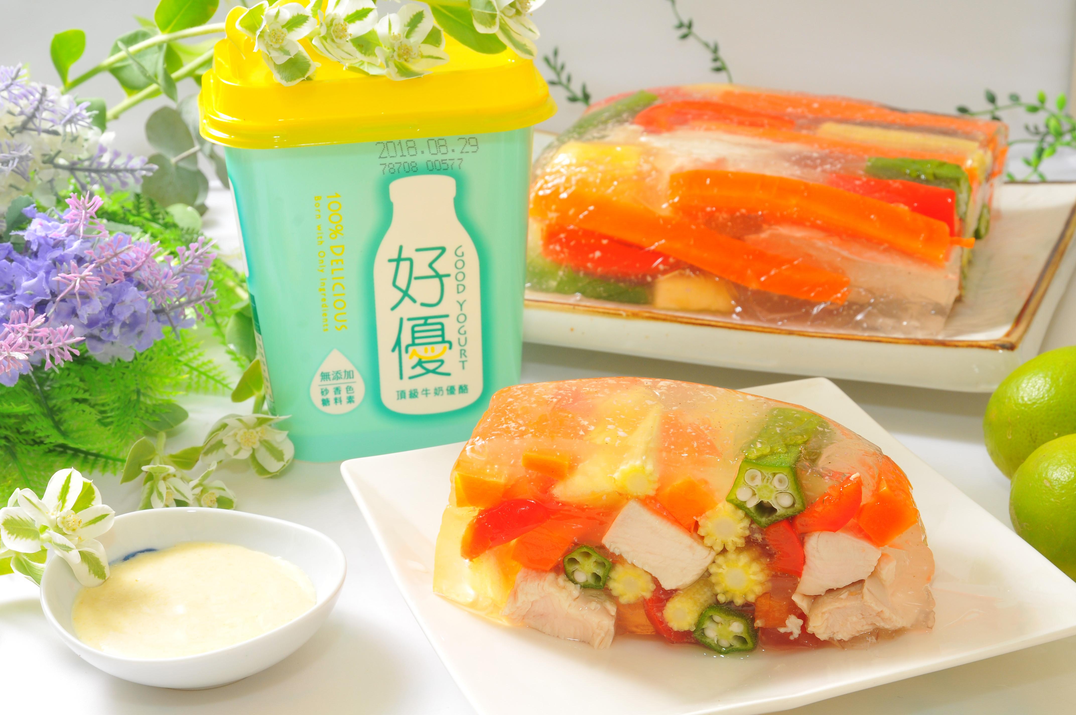 香雞五彩蔬菜凍