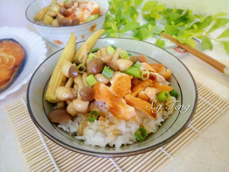 蠔油菇菇鮭魚丼飯【好菇道親子食光】