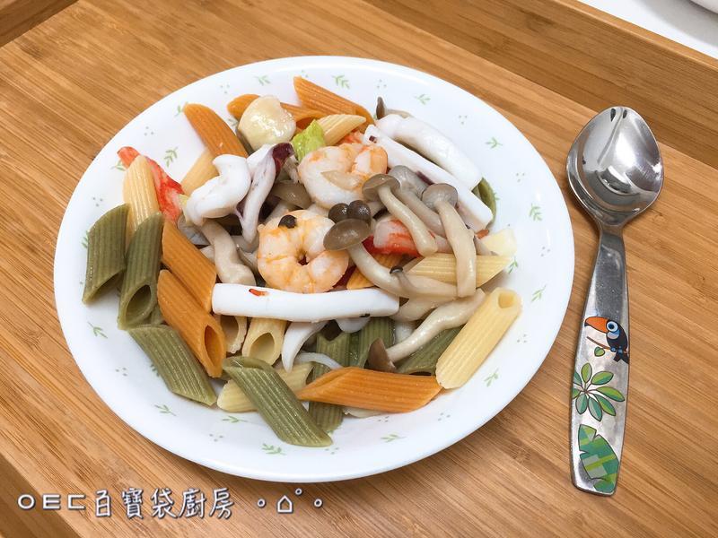 蒜香海鮮三色義大利麵【好菇道親子食光】
