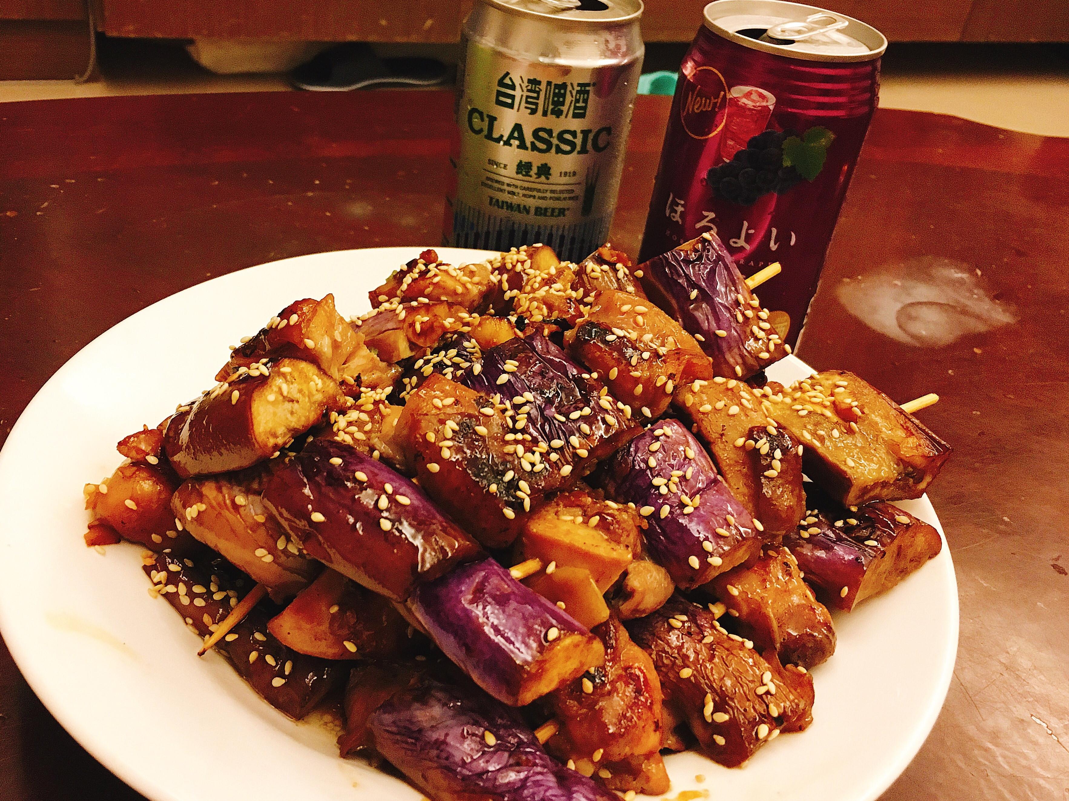 茄子雞肉串燒