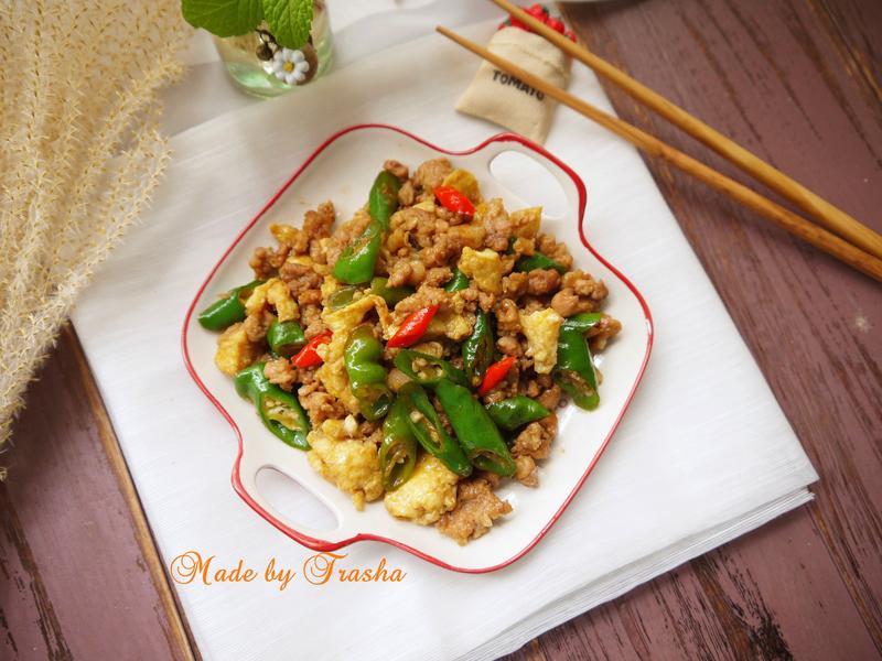 糯米椒炒蛋肉末