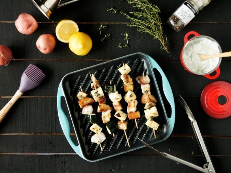 燒烤白肉魚與鮮蔬