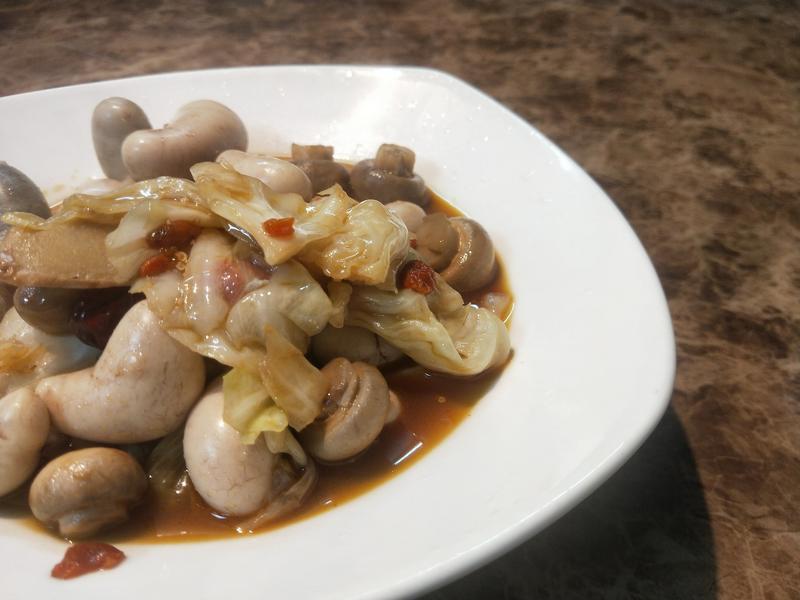 雞佛炒洋菇高麗菜