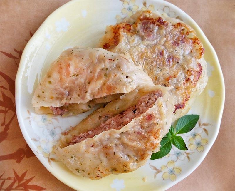 豬肉餡餅〞冷凍抓餅做餡餅