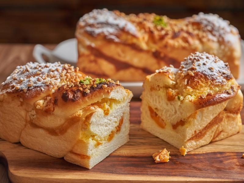 芒果奶酥小吐司【麥典實作工坊麵包專用粉】