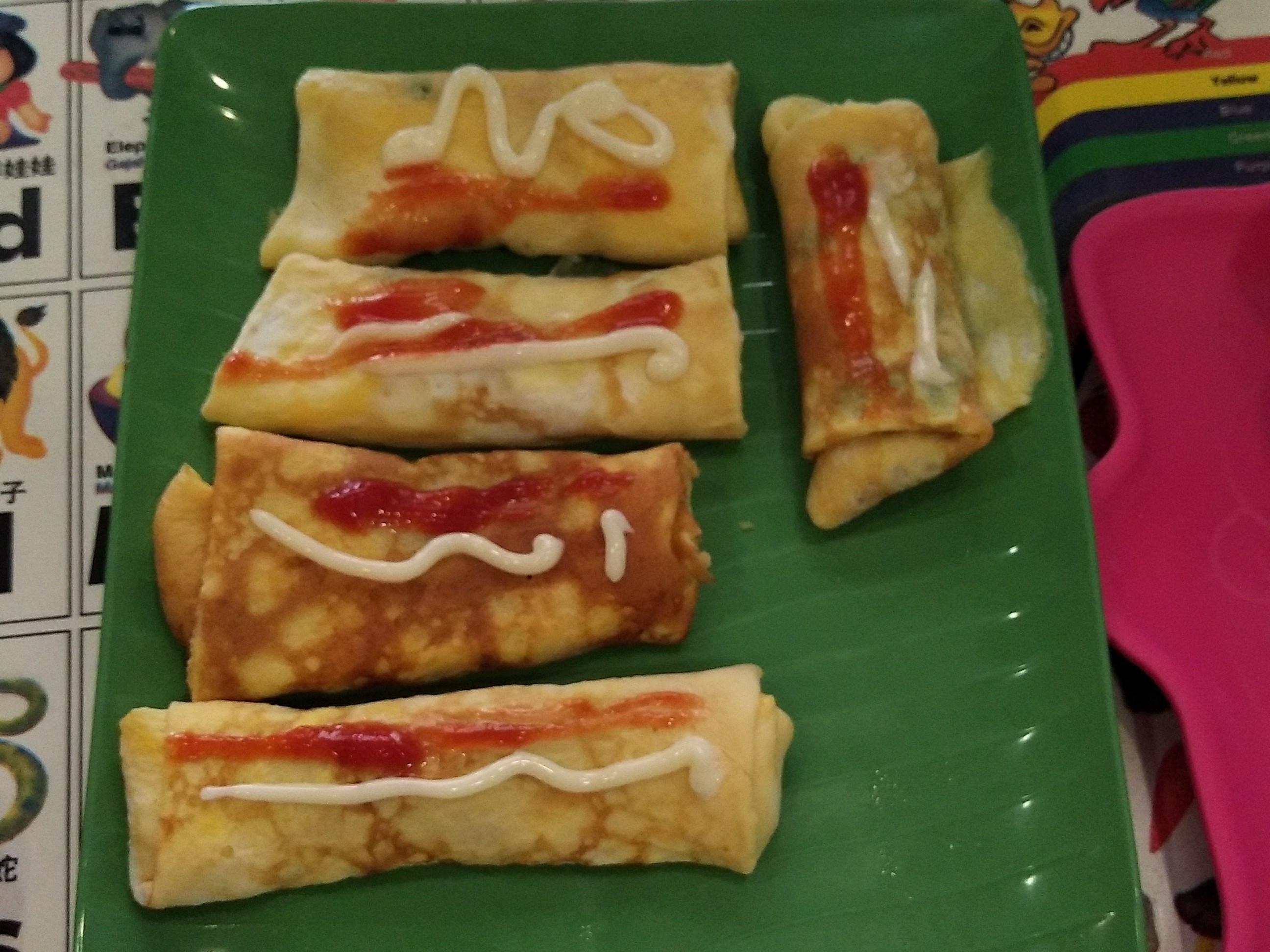 肉松蛋饼 (无油早餐)