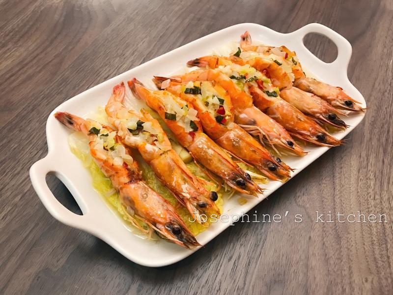 奶油蒸烤草蝦
