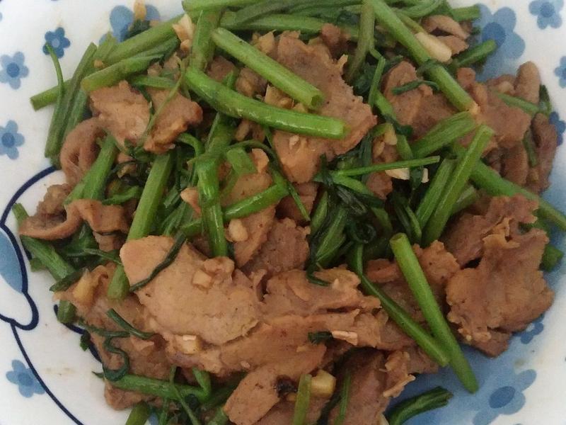 羊肉炒空心菜