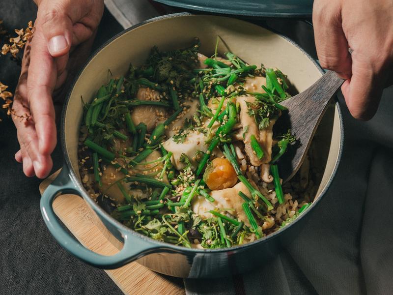 鯛魚干貝炊飯(鑄鐵鍋炊飯)