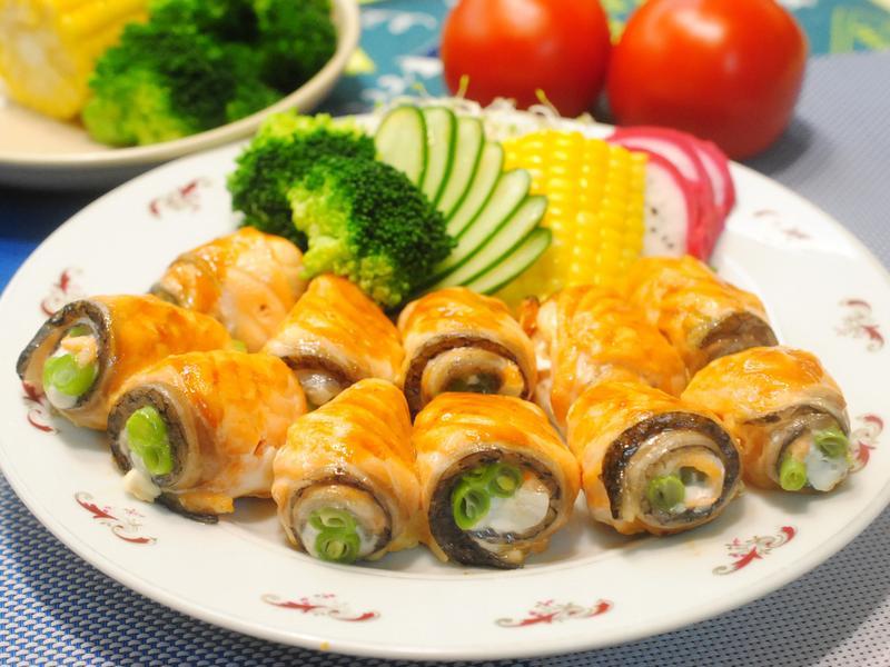 烤肉-鮭魚敏豆捲